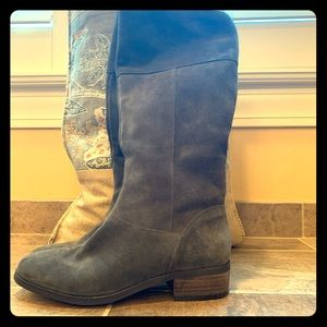 Gray suede Sole Society Side ZIP boots